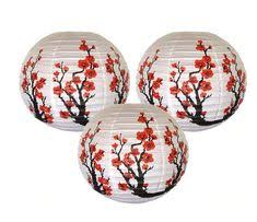 <b>3pcs</b> / lot red Sakura <b>paper</b> lanterns 16 inch <b>40cm</b> Chinese ...