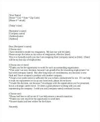 2 Week Notice Sample Two Weeks Letter Template Official Resignation ...