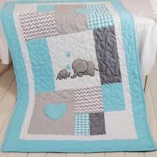 aqua gray blanket elephant quilt blanket chevron baby patchwork blanket