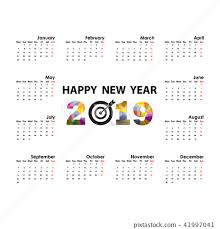 2019 Calendar Template Starts Monday Stock Illustration 41997041