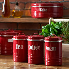 Rustic Kitchen Canister Sets Kitchen Canister Sets In Red Color Homesfeed