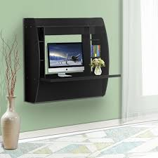 devaise wall mounted computer desk with storage black