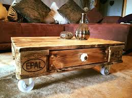 DIY Pallet Coffee Table On Wheels  99 Pallets U2013 Les ProomisPallet Coffee Table On Wheels