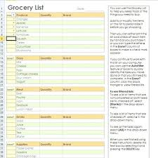 Excel Grocery Excel Distributors Grocery List Template Excel Free
