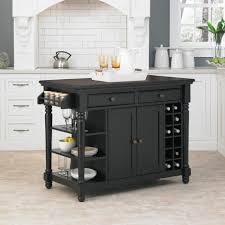 Kitchen:Luxury Small Portable Kitchen Island With Black Tone And Bottle  Racks Opulent Black White
