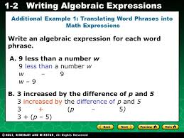 holt ca course 2 writing algebraic expressions 1 2 write an algebraic expression for each