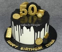 Black And Gold 50th Birthday Cake Cake By Cakes By Vivienne