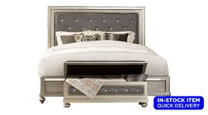 Living Rooms Celine Silver Upholstered Crystal Tufted Bed with