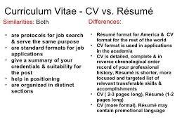 cv vs resume example resume vs curriculum vitae template