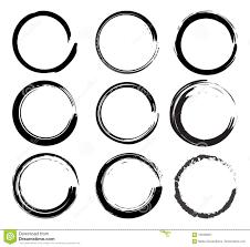 Circle Border Vector Grunge Black Ink Brush Circle Border Sets Stock