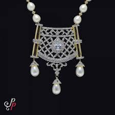 hyderabad nizam style long pearl necklace with amerian diamond pendant