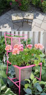 Metalic chair turned into a planter