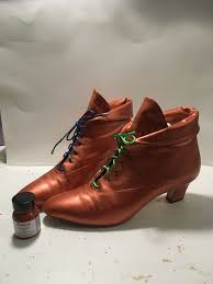painted these nine west ankle booties copper with angelus leather paint