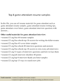 Bar And Gaming Attendant Resume Sample