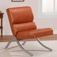 com rust colored faux leather accent chair beautiful modern waiting or living room side chairs with brushed silver finish kitchen dining