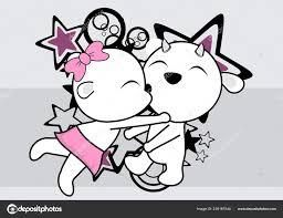 kawaii cute goat couple cartoon valentine love background vector format stock vector