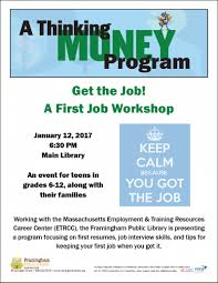 events calendar framingham public library a first job workshop thumbnail photo
