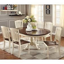 furniture of america bethannie 7 piece cote style oval dining set vine white dark oak beige size 7 piece sets