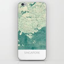 Design Skin Phone Case Singapore Singapore Map Blue Vintage Iphone Skin By Hubertroguski