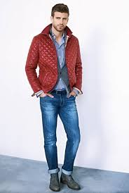 Red Quilted Jacket, Gray Wool Blazer, fitted Jeans. Men's Fall ... & Red Quilted Jacket, Gray Wool Blazer, fitted Jeans. Men's Fall/Winter Street Adamdwight.com