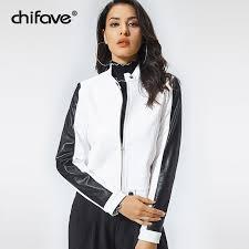 fashion motorcycle pu leather jacket women long sleeve basic coat casual white slim outerwear plus size