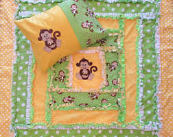 Curious george quilt | Etsy & Monkey Like Curious George Minky Rag Quilt Applique Children's Blanket With  Matching Pillow Case Option Adamdwight.com