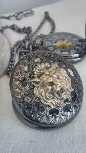 mens steampunk silver lion metal mechanical skeletal pocket watch previous next