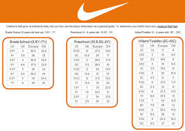 Shoe Size Conversion Youth Boy Grade School Size Chart To