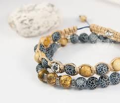 BS700 Двойной <b>мужской браслет</b> из камня, агат кракле и яшма ...