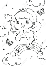 Fairy coloring pages for kids. Tooth Girl Fairy Coloring Pages Kids Coloring Book Worksheet Royalty Free Cliparts Vectors And Stock Illustration Image 145500085