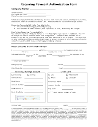 recurring payment authorization form template credit card ach