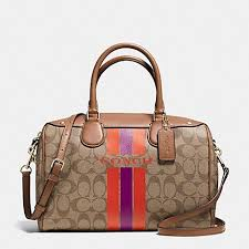 COACH VARSITY STRIPE COACH BENNETT SATCHEL IN SIGNATURE, F38269,  SILVER CHALK ORANGE