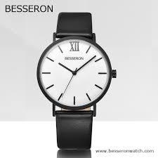 men s black leather watch