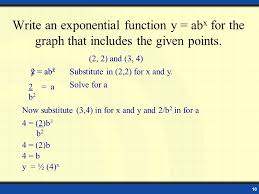 write an exponential function y abx for the graph that includes the given points