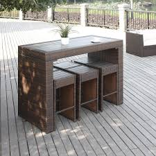 patio furniture small spaces. The Portfolio Aldrich Set Features A Bar Height Table And 6 Armless Stools In Dark Brown Patio Furniture Small Spaces
