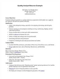 Quality Analyst Cv Resume Objective For Quality Assurance Analyst Free Resumes Tips