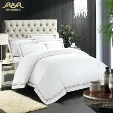 white duvet cover set nz romorus designer 100 cotton embroidered hotel bedding set white king queen