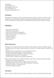 Resume Templates: Early Childhood Teacher