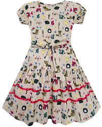 Girls Clothing Chart Details About Sunny Fashion Girls Dress Fox Squirrel Bird Mushroom Print Striped Size 7 14