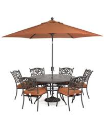 Outdoor dining sets with umbrella Round Wicker Dining Chateau Outdoor Cast Aluminum 7pc Dining Set 60 Amazoncom Furniture Chateau Outdoor Dining Collection Created For Macys