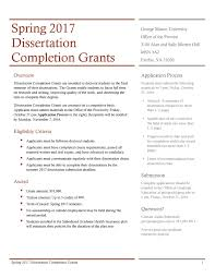 Dissertation Completion Grant deadline October Environmental Science and Policy George Mason University dissertation completion grant     FAMU Online