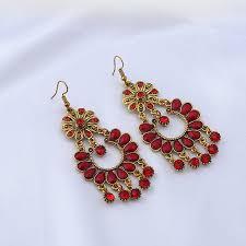 rhinestone teardrop fl chandelier earrings red