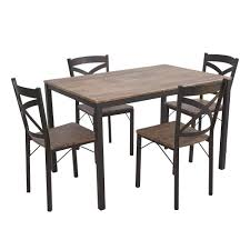 Dporticus 5 Piece Dining Set Industrial Style Wooden Kitchen Table
