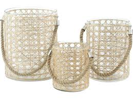 rattan candle holders jasper rattan glass hurricane lamps with rope handles set of 3 rattan lantern