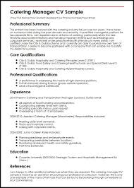 catering manager resume catering manager cv sample myperfectcv
