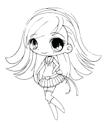 Coloring Pages Anime Page To Print Princess Chibi Cute Sheets