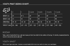 Youth Pants Size Chart Youth Pants Size Chart Excite Motorsports