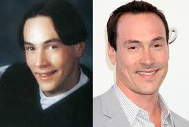 ... and probably a professional stylist, these A-listers look a lot more clean-cut. By Brittany Carson. Chris Klein, Senior Year Millard West High School, ... - chris-klein-yearbook-high-school-young-1979-red-carpet-2012-photo-split
