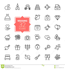 Outline Web Icon Set Wedding Illustration 55835619 Megapixl
