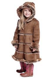 girls brown faux suede fur hooded coat